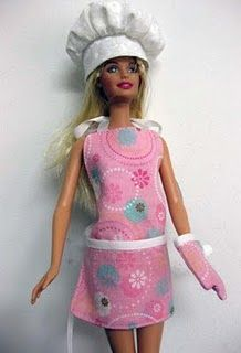 Barbie apron, oven mitt and chef's hat