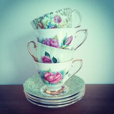 Vintage Shabby Chic Mismatched Green & Pink China