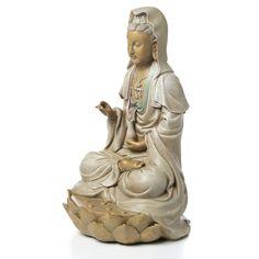 Design Toscano Goddess Guan Yin Seated on Lotus Statue Buddha Buddhism, Buddhist Art, Chinese Buddha, Sacred Feminine, Divine Feminine, Guanyin, Ancient Art, Deities, Lotus