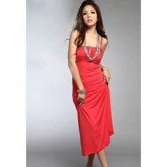 $15.52 Hot Sale Lady Fitting Fold Design Solid Color Long Dress For Women