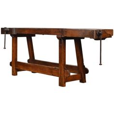 Antique Ski Workbench from the French Alps | From a unique collection of antique and modern industrial and work tables at https://www.1stdibs.com/furniture/tables/industrial-work-tables/