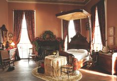 Refurbished bedroom at Beauvoir, former home to Jefferson Davis and the Gulf Coast's oldest surviving house. Photo by Ken Murphy for Mississippi Magazine.