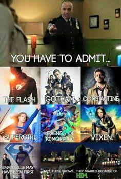 How did he start Gotham or Smallville or Supergirl? Team Arrow, Arrow Tv, Arrow Cast, Arrow Quote, Arrow Show, Superhero Shows, Superhero Memes, Stephen Amell, Dc Memes