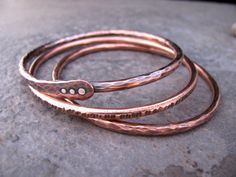 Copper Bangle Bracelet Set by TammysTreasureChest on Etsy https://www.etsy.com/listing/89856106/copper-bangle-bracelet-set