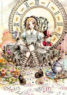Lewis Carroll, Manga Art, Manga Anime, Anime Art, Fantasy Magic, Fantasy Art, Alice Madness, Adventures In Wonderland, Wonderland Alice