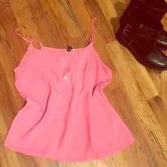 H&M Pink Top size: 6 ❤️CLOSET CLEAR OUT!!! ❤️ H&M Pink Top with adjustable straps // size: 6 Condition: Very Good // Material: 100% Polyester //  Comes with spare button // I ship same day from pet/smoke-free home // Priced to sell!! // Bundle with any other of my listings for an extra 10% off // ENJOY  H&M Tops Tank Tops