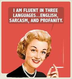 "I am fluent in three languages... English, Sarcasm, and Profanity...and will call you sweetheart and say ""bless your heart"" in the same breath"