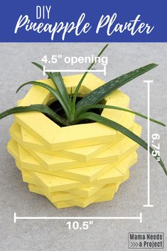 Check out free building plans and step-by-step picture tutorial for this adorable DIY Pineapple Planter for your houseplants. Woodworking Tutorials, Woodworking Projects For Kids, Woodworking Plans, Wood Projects, Plastic Flower Pots, Diy Planters, Garden Planters, Garden Crafts, Garden Art
