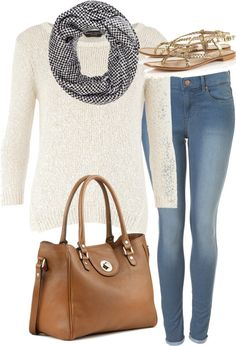 El inspired outfit for school  Dorothy Perkinsjumper sweater/ Topshopmid rise skinny jeans/ Topshopgold sandals/Genuine leather handbag, $305 / River Islandblack scarve, $24