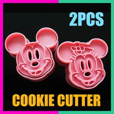 2Pcs Mickey Minny Mouse Fondant Cake Cookie Biscuit Mold Cutter Diy Tools Mould