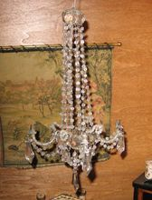 Miniature Antique French crystal large chandelier with candles