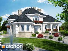 Projekt domu Rezydencja w Myślenicach 2(P) - ARCHON+ Dream House Plans, Modern House Plans, My Dream Home, Duplex House Design, Modern House Design, Bungalow Style House, Stone Houses, Home Design Plans, Design Case