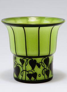 Vase, H. Made by Loetz, Klostermuehle. Cased glass, pale green opal, clear and black. Glass Vessel, Glass Art, Art Nouveau, Tango, Bohemia Glass, Green Opal, Art Deco Era, Antique Art, Czech Glass