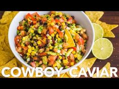 This Cowboy Caviar salsa is fresh, healthy, simple and loaded! We make this salsa all summer long. It makes a big batch so it is an ideal summer party dip. This Texas Caviar always disappears fast! This Cowboy Caviar salsa is fresh, healthy, Texas Caviar, Cowboy Caviar, Cowboy Dip, Avocado Recipes, Healthy Recipes, Caviar Recipes, Cooking Websites, How To Cook Beans, Mexican Food Recipes