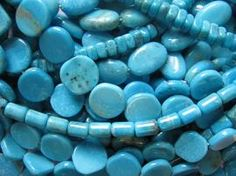 Nacozari Turquoise is found in Sonora, Mexico south of the Bisbee, Arizona in the same mountian range. Like the Sleeping Beauty Turquoise, this turquoise is desired for it's beautiful blue color and no matrix. Some beads contain tiny pyrite inclusions and white spots due to the stone's aluminum content. Lost Cities Beads, San Diego's Bead Store