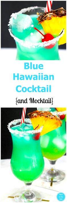 If you want a cocktail that makes you feel like you are on the beach, this Blue Hawaiian Cocktail is it! Plus, I've got a mocktail version as well! via Mom On The Side