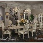 $5,660.00  AICO Furniture - 9-pc Monte Carlo II Rectangular Dining Table Set (silver pearl) - N53002-03R