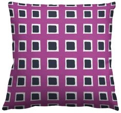 Square Throw Pillow in Checked Out, Victoria Reverse Melanite, designed by Sarah and Ruby Design and featured on Guildery