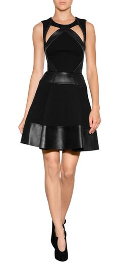 A high-impact option for after dark, this wool and leather dress from David Koma fuses futuristic patterning with an ultra-luxe material mix #Stylebop