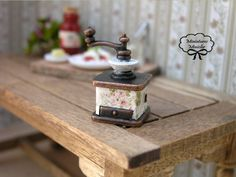 Miniature Dollhouse Coffee Mill Rose Decor by Minicler on Etsy, €6.00