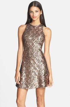 sequin cutaway fit & flare dress @nordstrom #nordstrom
