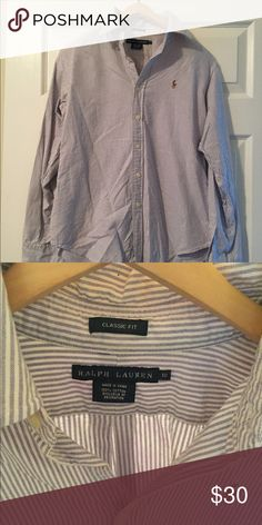 Ralph Lauren Purple Stripe Button Down RL purple and white stripe button down! A definite classic to add to your closet! Wear with jeans or tucked into a skirt! Fits true to size. Ralph Lauren Tops Button Down Shirts