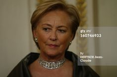 Queen Paola, now retired queen of the Belgians, wearing the tiara in photo of her as a young princess as a choker.
