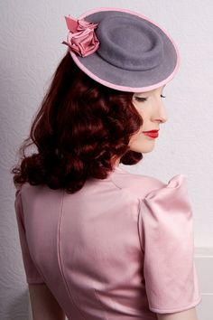 Grey felt tilt hat pnk trimed hat 40s hat mini by BMillinery, £95.00