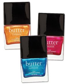 In Chuffed, Airy Fairy, and Disco Biscuit, $15 each; butterlondon.com