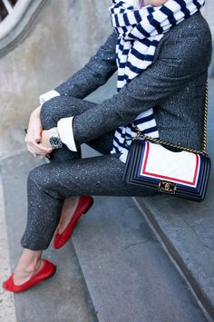 Sparkle suitScarf. Flats: Chanel // Sunglasses. Bag: Chanel.