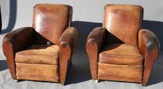 1920s Club Chairs: Awesome leather club chairs from the 1920s.  Very well-worn.