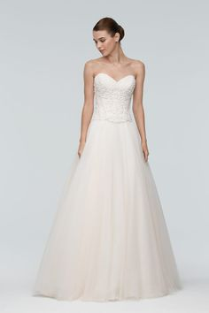 Simple and chic strapless sweetheart a-line wedding dress with corset bodice and tulle skirt. | Watters | Style: KEOCORSET