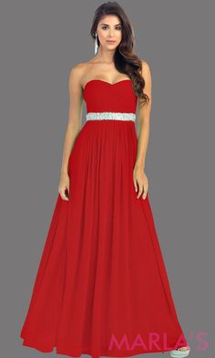 457515da27 Long Red flowy dress with corset back. It has a multicolor rhinestone belt  under the bust. Perfect for bridesmaid dresses