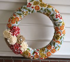 fabric wrapped once upon a picnic wreath by YellowAttic on Etsy, $32.00