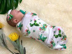 Baby Girl Cactus Swaddle Sack Set with Bow, Swaddle, Cocoon, Sleep Sack, Swaddle, Newborn, Blanket,
