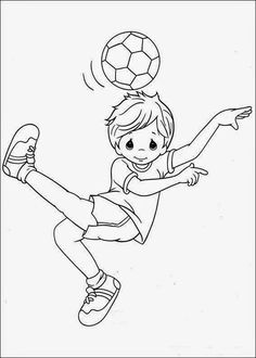 boy playing soccer football coloring pages