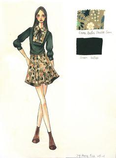 Scad Student work Ziyi Huang Fashion Sketchbook, Fashion Sketches, Fashion Art, Fashion Women, Fashion Design, Illustration Example, Woman Drawing, Student Work, Fabrics