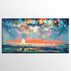 Abstract Landscape Art, Starry Night Sky Painting, Impasto Artwork, Canvas Painting, Custom Extra Large Painting - artworkcanvas Abstract Landscape Painting, Hand Painting Art, Sky Painting, Oil Painting Landscape, Painting, Oil Painting For Sale, Night Sky Painting, Large Canvas Painting, Abstract Art Landscape