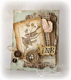 beautiful collage effect with the Stampendous Bird Frame cling, burlap, tickets and twine nest    Pickled Paper Designs: February 2011(Amy Sheffer)