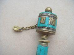Tibetan Prayer Wheel Gold Copper Turquoise Vintage Om Mani Padme Hum | shangrilacraft - Home Decor on ArtFire