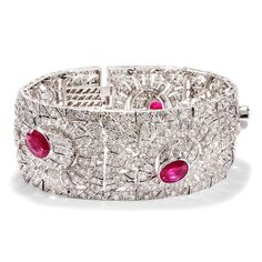 Roman Holiday - Spektakuläres Rubin und Diamant-Armband des späten Art Déco, Rom um 1950 von Hofer Antikschmuck aus Berlin // #hoferantikschmuck #antik #schmuck #antique #jewellery #jewelry