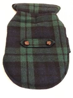 Dog Coat Jacket Size XS Pet Clothes Blue Green Plaid Buttoned Strap Fleece Inner    eBay