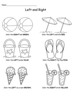 **FREE** Summer Items Left and Right Position Worksheet Worksheet.Help your child practice recognizing left from right with this summer items left and right position worksheet. Positional Words Kindergarten, Free Kindergarten Worksheets, Free Preschool, Preschool Learning, Learning Resources, In Kindergarten, Preschool Activities, Therapy Activities, Learning Spanish