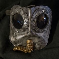 Leather steampunk mask with tentacle mouth piece by MonkeyDungeon, $114.99