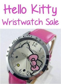 Hello Kitty Watch Sale: $4.88 + FREE shipping!  Such a super cute accessory, thrifty gift, or fun stocking stuffer for girls!