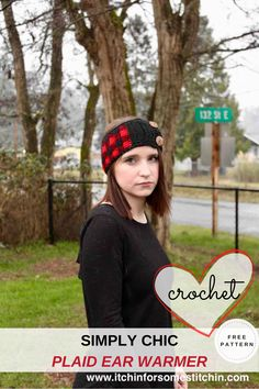 This free plaid ear warmer is both smart and stylish! Designed using the lovely plaid stitch, this fashionable head warmer is a great addition to your winter wardrobe. Just change your color scheme on your Simply Chic Buffalo Plaid Ear Warmer and it is great for any season! #crochetearwarmer #crochetheadband #crochetheadwarmer #freepattern #plaid #crochetwinter #womensfashion #hairaccessories