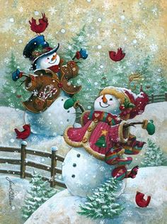 Christmas art, snowman art by renowned painter Janet Stever. Christmas Scenes, Vintage Christmas Cards, Christmas Pictures, Christmas Snowman, Winter Christmas, Christmas Holidays, Christmas Crafts, Merry Christmas, Christmas Decorations