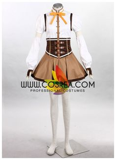 Costume Detail Puella Magi Madoka Magica Mami Tomoe Cosplay Costume Set Includes: Top, Skirt, Petticoat, Hat, Bow Tie, Sleeves, Gloves, Soul Gem Please see individual tabs for information including: -