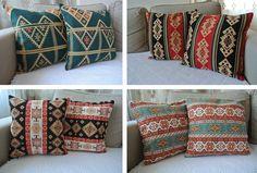 "2x Pillow Cases Kilim Carpet Pattern Cotton 17""x17"" Zippered Tribal Rustic Boho"