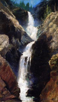 Thomas Moran (1837 – 1926) originally from Bolton, England was an American painter and printmaker of the Hudson River School in New York    1873+Mary's+Veil,+A+Waterfall+in+Utah+oil+on+board+30.2+x+17.8+cm.jpg (621×1080)